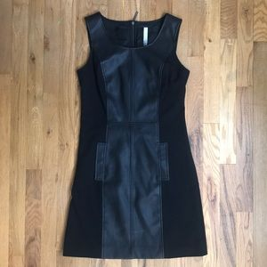 Kenzie Little Black Dress with Pleather Details